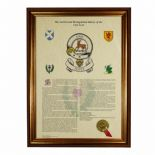 Scottish Clan History and Clan Badge A3 Print PERSONALISED, ref SCBP